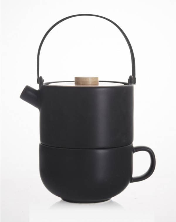 Tea-for-one Umea mit Bambusdeckel, schwarz 0,5L